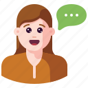 avatar, bubble, chat, communication, message, talk, user icon