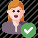 accept, approve, avatar, check, ok, profile, user icon