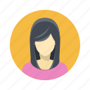 avatar, beautiful, character, female, girl, person, portrait, team member, testimonial, user, woman, young icon