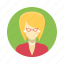avatar, beautiful, blond, business, character, clever, company, earings, female, girl, glasses, person, portrait, professional, smart, team, team member, testimonial, user, woman, work icon
