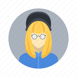 avatar, beautiful, blond, character, female, girl, glasses, hat, mascot, people, person, smart, team, team member, testimonial, user, woman, young icon