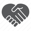 help, love, handshake, heart, shape, partnership, support icon