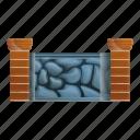 house, frame, border, stone, fence, old icon
