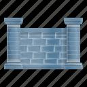 border, fence, grey, house, retro, stone