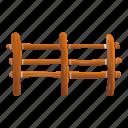 retro, tree, fence, border, farm icon