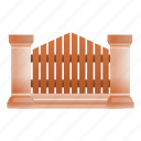 fence, frame, retro, stone, tree, wood