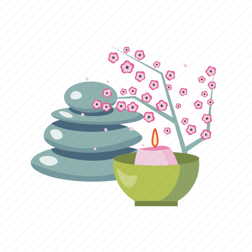 asia, feng, japan, sakura, shui, spa, stone icon