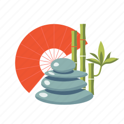 asia, bamboo, fan, feng, mascot, shui, stone icon