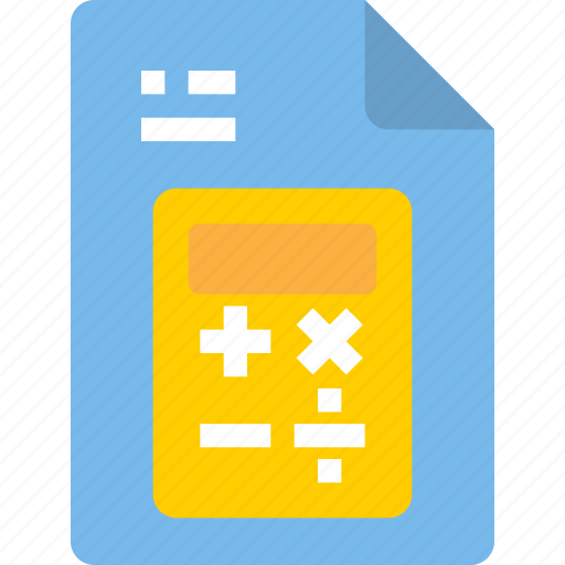 calculator, document, file, form, interface icon