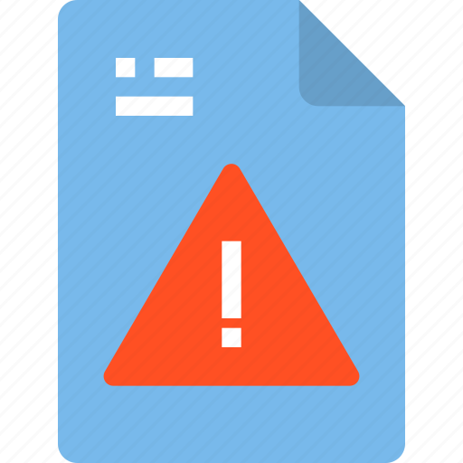 document, file, form, interface, warning icon