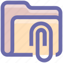 archive, attachment, clip, document, folder, office, paperclip icon
