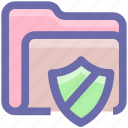 archive, file, file and folder, folder, format, safe folder, secure, security, shield icon