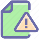 alert, document, document warning, file, format, warning icon