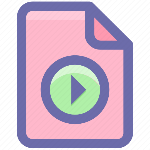 audio, document, file, media, movie, multimedia, play, sheet icon