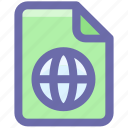 document, earth, file, form, globe, interface, world icon