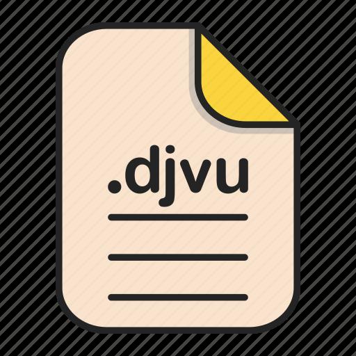 djvu, document, file, format, text icon