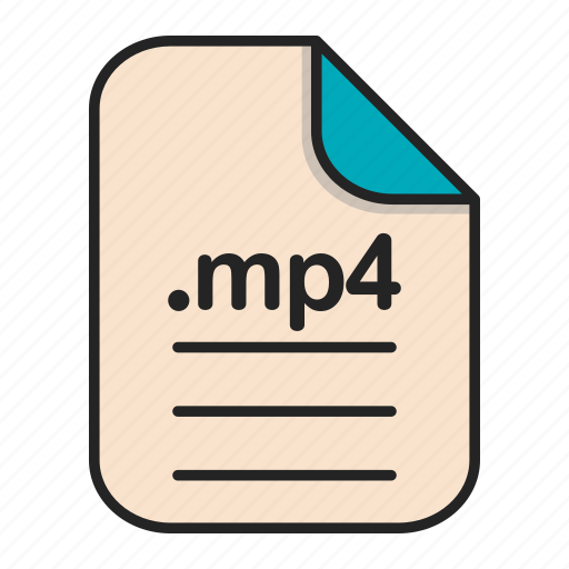 document, extension, file, format, mp4, video icon