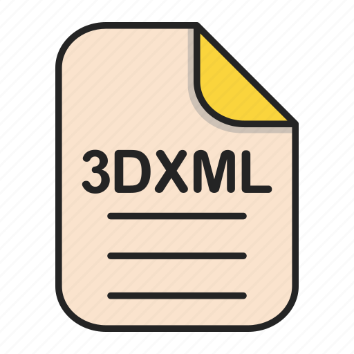 document, file, file 3d, file 3dxml, format, type icon