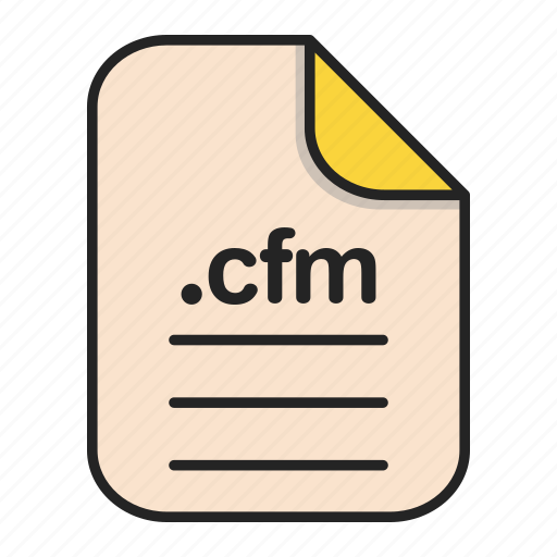 cfm, document, extension, file, format, type, web icon