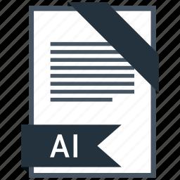 ai, extention, file, type icon