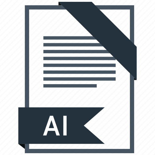 ai, extention, file, type icon