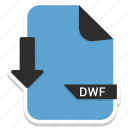 document, dwf, extension, file, format, page icon