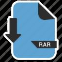 document, extension, file, folder, format, paper, rar icon