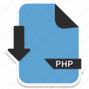 document, extension, file, folder, format, paper, php icon