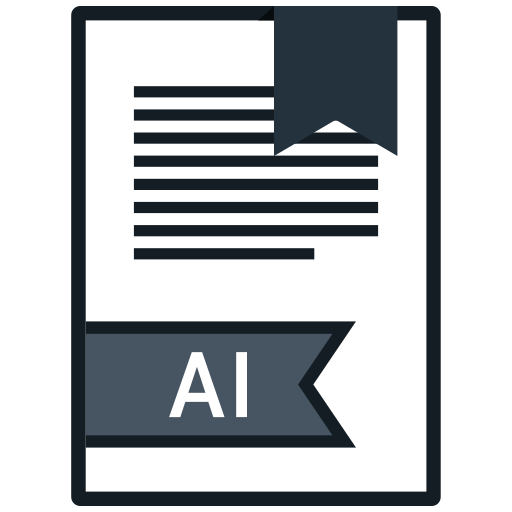 ai, extension, file, name icon