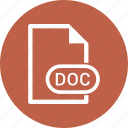 doc, extension, file, file format icon