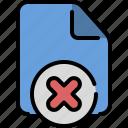 data, delete, file, format, paper, reject, remove icon
