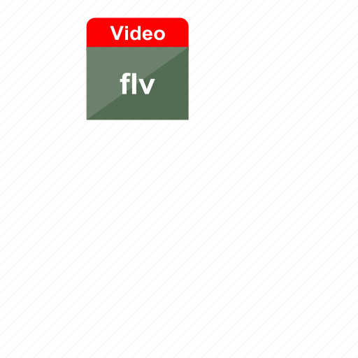 adobe, extension, file format, flash, flv, video, web icon