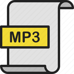 document, extension, file, format, mp3, music, page icon