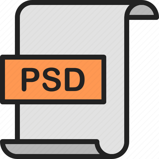 document, extension, file, format, page, photoshop, psd icon