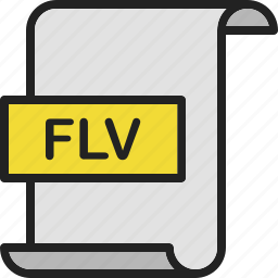 document, extension, file, flv, format, page, video icon