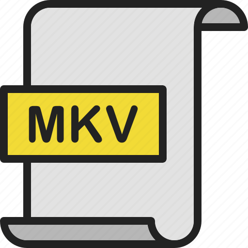 document, extension, file, format, mkv, page, video icon