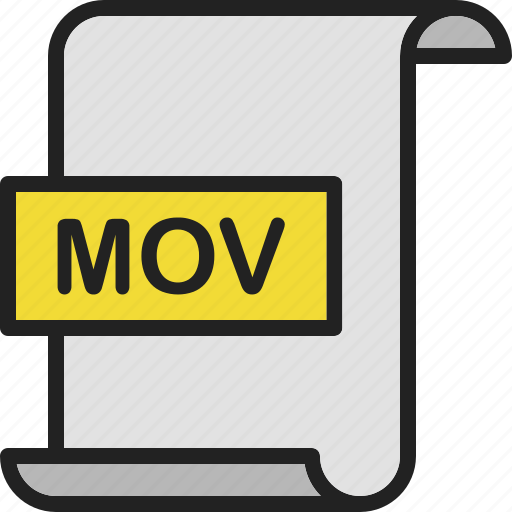 document, extension, file, format, mov, page, video icon