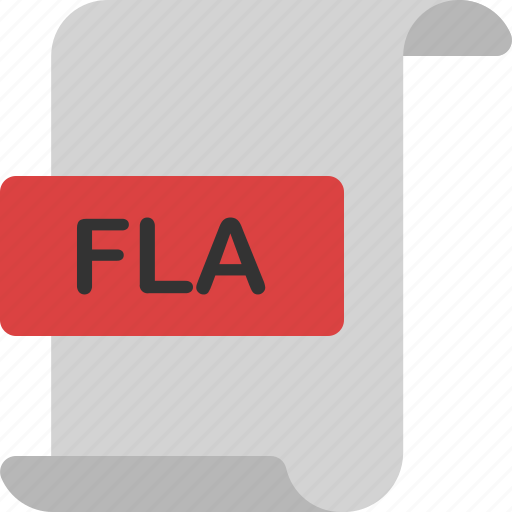 document, extension, file, fla, format, page, video icon
