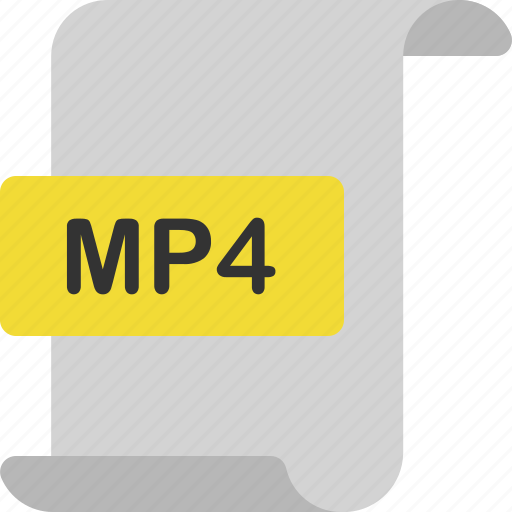 document, extension, file, format, mp4, page, video icon