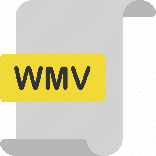 document, extension, file, format, page, video, wmv icon