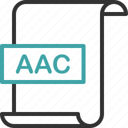 aac, audio, document, extension, file, format, page icon