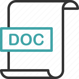 doc, document, extension, file, format, page, word icon