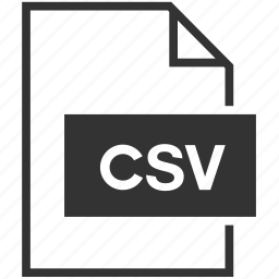 coma separate value, csv, document, extension, file format icon