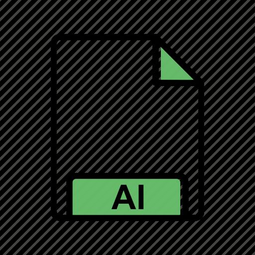 ai, extension, fie type icon