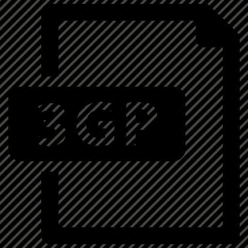 3gp, file, format, video icon
