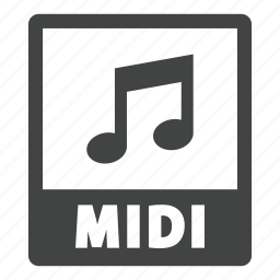 document, extension, file, format, midi, midi file icon