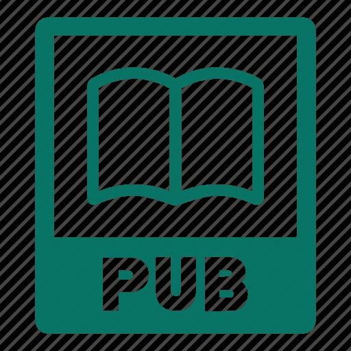 document, extension, file, format, pub, pub file icon