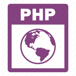 document, extension, file, format, php, php file icon