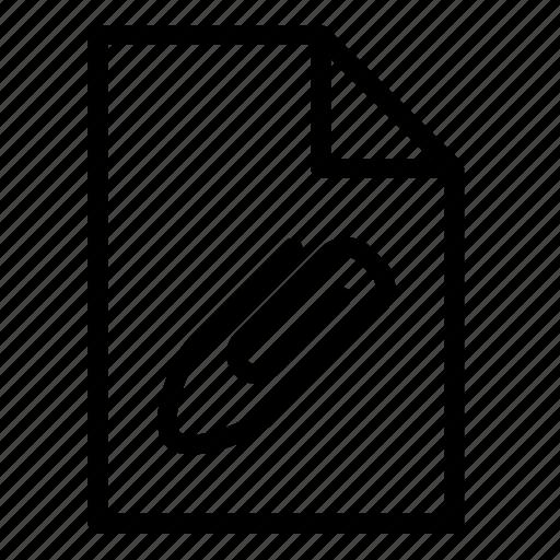 attach, attached, attachment, document, fastener, file, paperclip icon