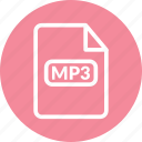 mp3, mp3 audio, mp3 document, mp3 file, mp3 format icon